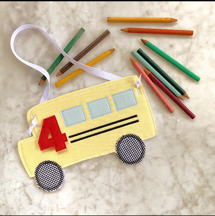 School Bus with Numbers