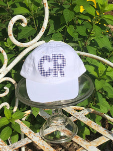 White Youth Hat with DOUBLE Initial