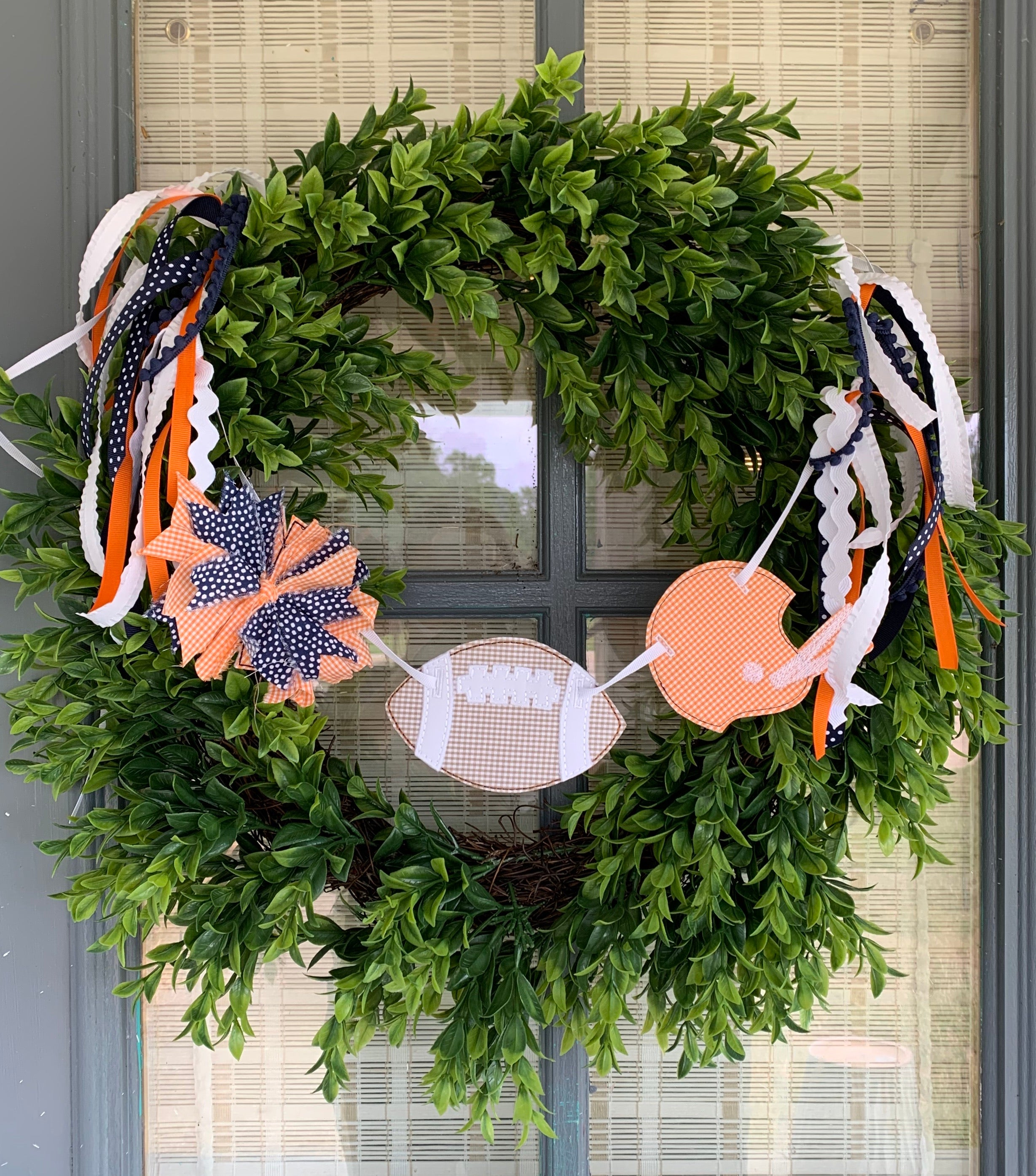 Blue and Orange Football Wreath banner