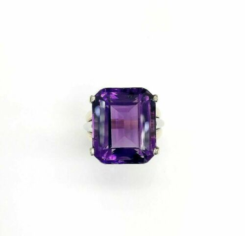 39.10 Carats 22 x 18 Emerald Cut Amethyst Celebration Ring 14K Rose/White Gold