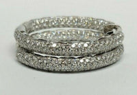 5.50 ct Diamond Hoop Eternity Inside Out 18K White Gold Earrings
