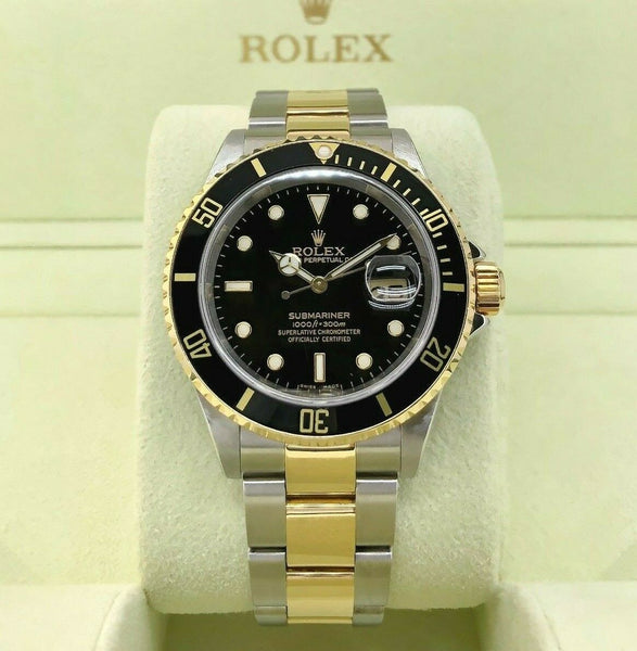 Rolex Black Submariner Date 18K Yellow Gold & Steel Watch Ref 16613 F Serial