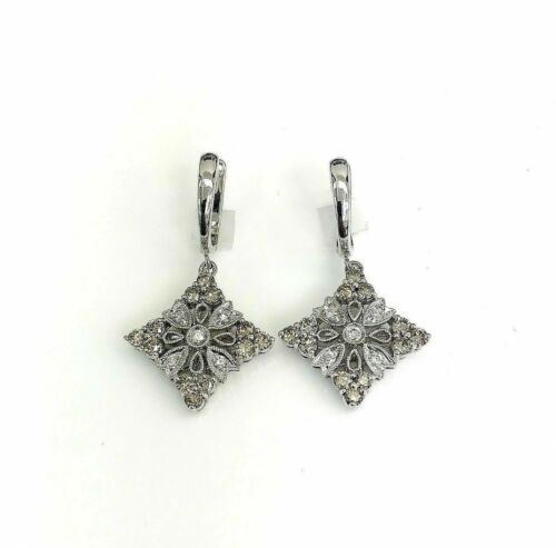 1.02 Carats t.w. White and Fancy Brown Diamond Dangle Earrings 14K White Gold