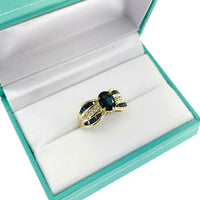 Fine 2.97 Carats t.w. Blue Sapphire & Diamond Anniversary Right Hand Ring 14K