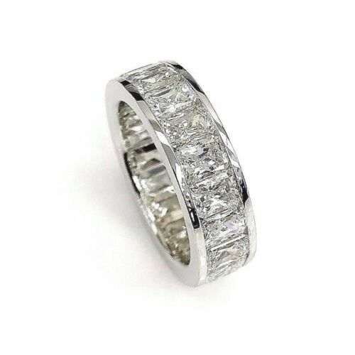 6.15 Carats Radiant Cut Diamond Channel Eternity Band Ring 18K Gold F - G VS