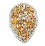 5.72ct Fancy Colored & White Diamonds Pear Shape Cluster Cocktail Ring Size 6.5