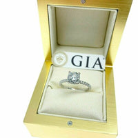 1.44 Carats t.w. Round GIA E SI1 Under Halo Hand Made Engagement Ring 18K Gold