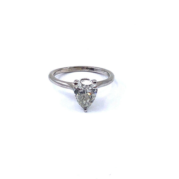 1.64 CARAT PEAR SHAPE GIA I-I1 DIAMOND SET IN 14K WHITE GOLD ENGAGEMENT RING
