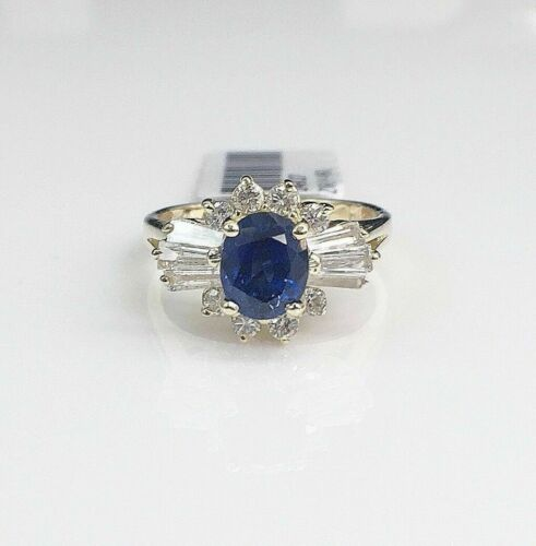 1.70 Carats t.w. Diamond and Sapphire Ring 14K Gold 1.20 Carats Sapphire