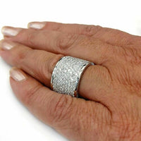 3.35 Carats t.w. Diamond Cigar Band/Anniversary Ring 14K Gold 0.60 Inch Wide