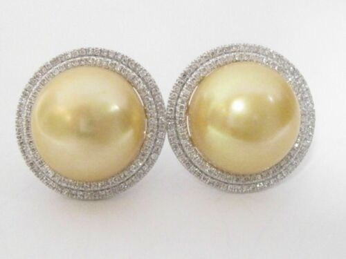 Fine 13mm Freshwater Yellow Gold Pearls Diamond Accent Earrings 14k White Gold