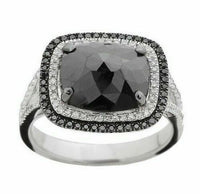 4.23ct Rose Cut Radiant Black Diamond Double Halo Split Shank Cocktail Ring