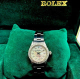 Vintage Rolex 24MM Lady Oyster Stainless Steel Ref 6623 Diamond Dial and Bezel