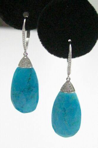 19.04 TCW Natural Elongated Oval Turquoise Diamonds Dangling Earrings 14K W-Gold