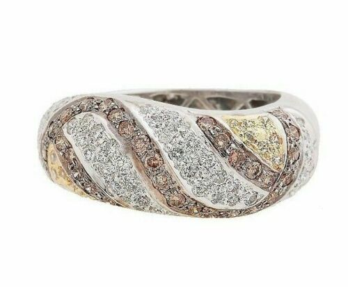 1.51Ct White, Fancy Yellow & Brown Diamond Cocktail Band Size 6.5 9.45mm Wide