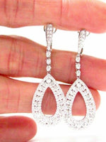 1.70 TCW Round Diamond Pear Shape Drop/Dangling Earrings F-G VVS2 18k White Gold