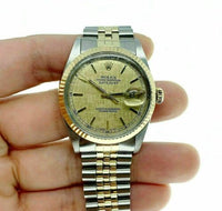 Rolex 36MM Datejust Watch 18K Yellow Gold Stainless Steel Ref 16013 Vintage 1987
