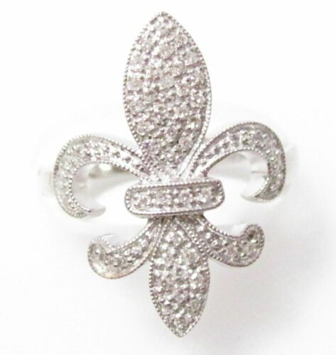 .25 TCW Fleur De Lis Round Diamond Ring Size 7 G SI1 Not Enhanced 14k White Gold