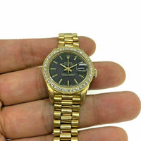 Rolex Lady President Watch 18 Karat Yellow Gold 26MM Ref # 69158 Diamond Bezel