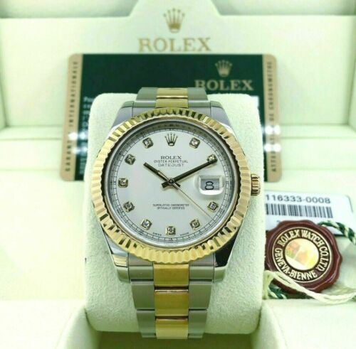 Rolex 41MM Diamond Datejust II Watch 18K Yellow Gold Stainless Steel Ref 116333