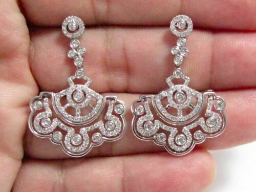 1.80 TCW Art Deco-Style Chandelier Diamond Earrings Push Back G VS1 18k W-Gold