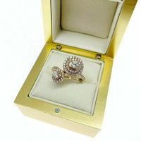 1.11 Carats Round Brilliant Diamond Halo Bypass Ring 14K Rose Gold