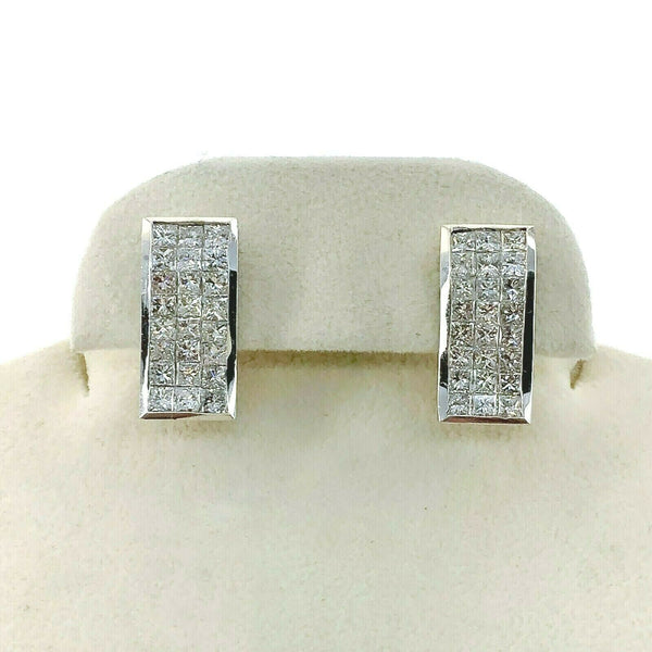 4.25 Carats t.w. Diamond Invisible Set French Clip Earrings 18K Gold G Color