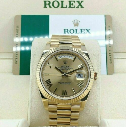 Rolex 40mm Day Date2 President Watch Solid 18K Yellow Gold Factory Dial Box Card