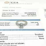 2.52 Carats Oval GIA E SI1 3 Side Under Halo Platinum Hand Made Engagement Ring