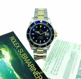 Rolex Blue Submariner Date 18K Yellow Gold & Steel Watch Ref 16613 with Papers