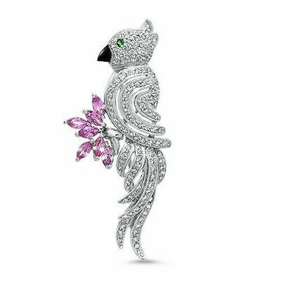 1.50 Carats t.w. Custom Made Cuckatoo Diamond Sapphire Pendant/Brooch 18K Gold
