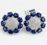 9.34 Carats t.w. Diamond and Sapphire Custom Made Dinner Earrings 14K Gold New