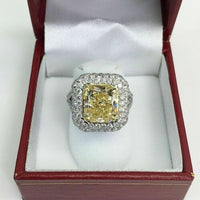 5.93 Carats t.w. Custom Made Diamond Ring 4.78 Carats Fancy Yellow GIA Cert