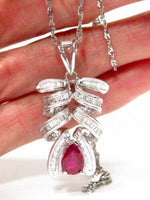 Fine 2.24 TCW Baguette Diamonds & Ruby Cluster Pendant Necklace 18k White Gold