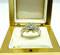 1.59 Carats Round Brilliant Cut Diamond Wedding Ring 18K 2Tone Gold 0.89 Center