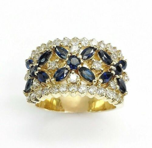 2.80 Carats t.w. Diamond and Blue Sapphire Anniversary Ring 14K Gold Brand New