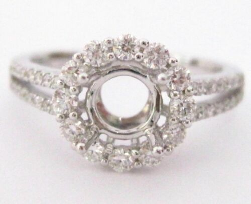 Fine 4 Prongs Semi-Mounting Round Diamond Bridal Ring 18k White Gold