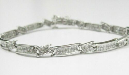 2.00 TCW 2 Row Princess Cut Diamond Bracelet H-I SI1 7 Inches 14k White Gold