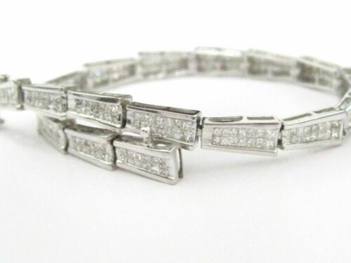 3.30 TCW Princess Cut 2 Row Diamond Bracelet 7.5 Inches 18kt White Gold