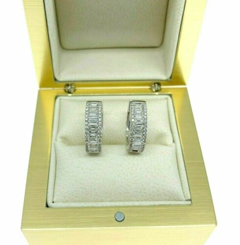 0.82 Carats Baguette and Round Diamond Huggie Hoop Earrings 18K White Gold