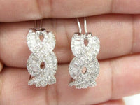 1.60 TCW Natural Baguette Diamond Huggie Earrings H SI2 18k White Gold