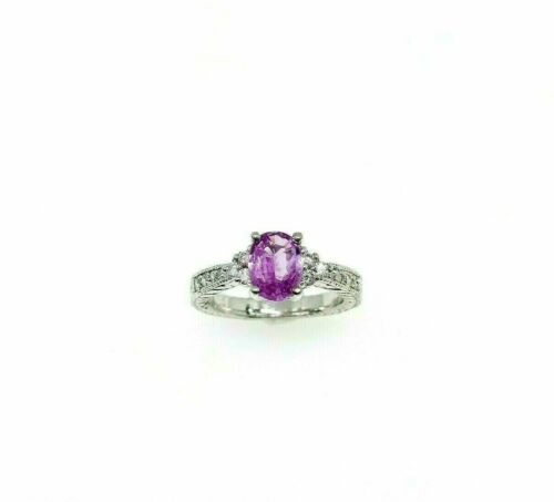 1.69 Carats t.w. Diamond and Pink Sapphire Wedding/ Anniversary Ring 18K Gold