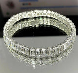 22.60 Carats t.w. Emerald Cut Diamond Tennis Bracelet Platinum 0.51 ct Diamonds