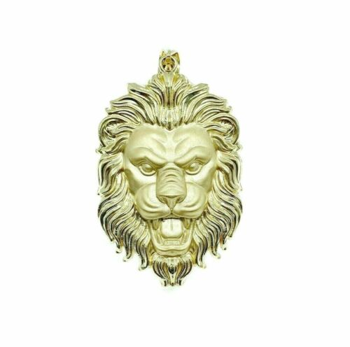 Custom Made Lion's Mane Pendant Solid 14K Yellow Gold 2.90 x 1.60 Inches