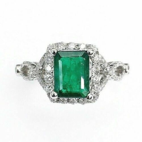 2.06 Carats t.w. Diamond and Emerald Ring Emerald is 1.39 Carats May Birthstone