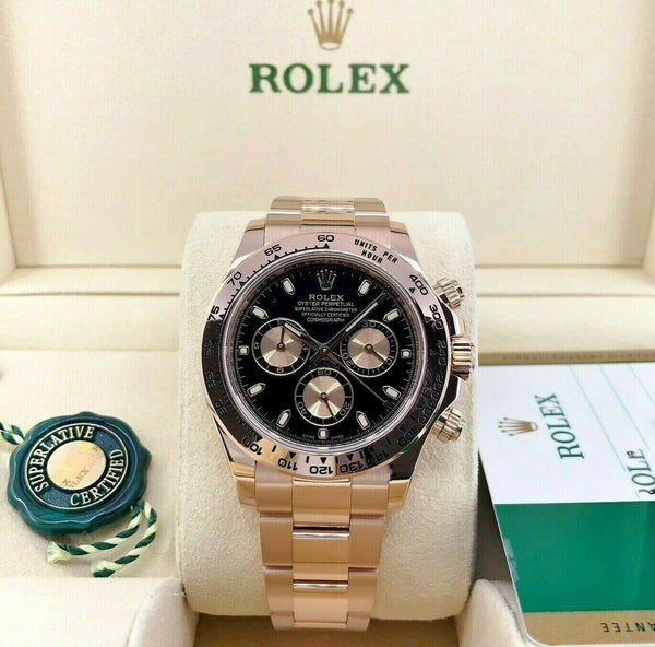 Rolex Daytona 40MM 18K Rose Gold Everose Watch Ref 116505 2016 Box and Card Mint