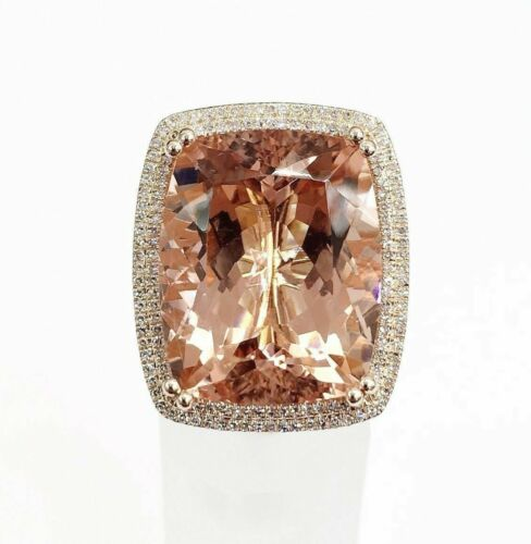 26.06 Carats t.w. Diamond and Morganite Double Halo Ring 14KRose Gold Brand New