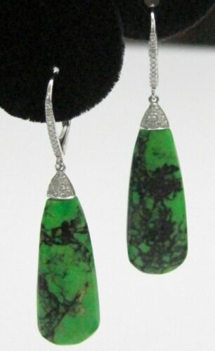 14.86 TCW Pear Elongate Green Opal Diamond Dangling Earrings 14k WG