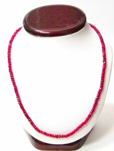 Fine 65 Carat Red Ruby String/Strand Beads Necklace 17 Inches 14kt White Gold