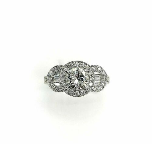 2.08cts Round Cut Diamond Halo Wedding/Anniversary Ring 18k Gold